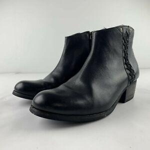 Clarks Artisan Women US 6 Black Leather Ankle Bootie Heel Side Zip Shoe 16501