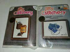 Jiffy Stitchery Coffee #380 & Sneakers #601A (Blue)  Embroidery Kits