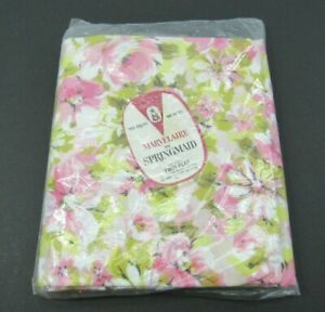 """NEW Vintage Marvelaire Springmaid Floral Muslin Percale Twin Flat Sheet 72""""x104"""""""