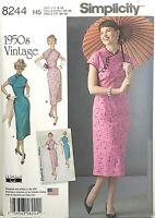 Simplicity 8244 Asian Qipao / Cheongsam Dress Sz 6-14 UNCUT 1950s Vintage Repro