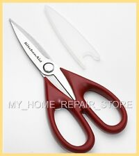 KITCHENAID STAINLESS STEEL KITCHEN SHEARS / SCISSORS W/ RED COMFORT GRIP HANDLES