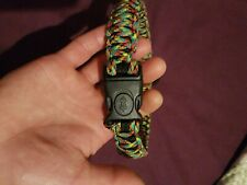 Dog Collar W Strong Lockable Buckle,Stainless Steel  D Ring Wrapped In paracord.