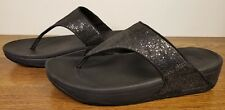 Fitflop Electra Black Sequin Slide Thong Wedge Flip Flop Sandals Women's Size 9
