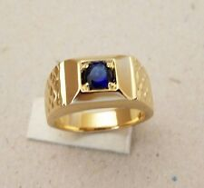 Men's Sapphire Blue CZ Yellow Gold Plated Ring New Size 10 Fashion Jewelry New