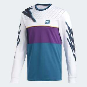 ADIDAS SKATEBOARDING TENNIS JERSEY L/S T-SHIRT WHITE /TRIBE PURPLE /REAL TEAL