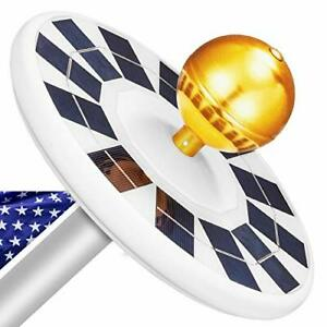 Solar Flag Pole Light Ultra-Bright 128 LED Downlight for Most 15 to 25 Ft In-Gr
