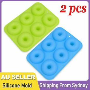 2pcs Silicone Donut Mold Muffin Chocolate Cake Cookie Doughnut Baking Mould Tray
