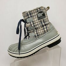 Sorel Gray Fox Fur Canvas Comfort Waterproof Lace Up Winter Boots Womens Size 9