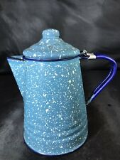 Vintage Blue Speckled Small Enamel Coffee Pot Hinged Lid Country Decor Kitchen