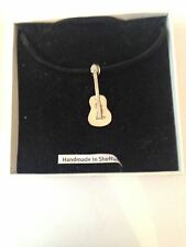 Spanish Guitar PP-M01 Pewter Pendant on a  BLACK CORD  Necklace