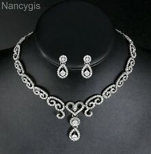 Cubic Zirconia Crystal Heart Shape Necklace and Earrings Wedding Jewellery Set