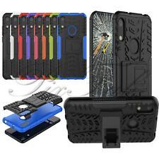 Per Huawei Honor 8A NUOVO Nero Blu Armour a prova d'urto Telefono Caso + schermo di vetro