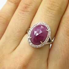 925 Sterling Silver / Pink Gold TCW 0.22 Real Diamond & Ruby Gem Ring Size 6