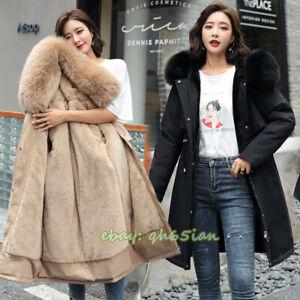UKWomen Big Fur Collar Coat Winter Warm Outwear Long Parka Hooded Quilted Jacket