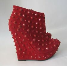 "new RED SPIKE 5.5""high wedge heel 1.5""platform ankle boot US WOMAN size  6"