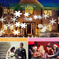 Outdoor LED Moving Snowflake Landscape Laser Projector Lamp Garden Xmas Light TP