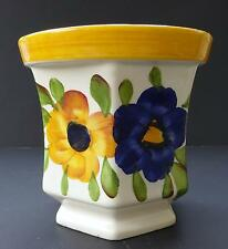 pre-owned GUC Ceramic Hexagonal Pedestal Decorative Flower Vase Planter Brazil