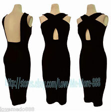 Hot Strap Cross Backless Club Party Cocktail Celebrity Bodycon Dress BLACK Large
