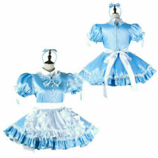 Sissy maid satin blue dress cosplay costume Tailor-made