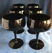 Vintage Saarinen Mid Century Modern Tulip Wine Glass Set 6 Glasses Black 1960s