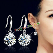 Elegant Fashion 925 Sterling Silver Women Crystal Rhinestone Ear Stud Earrings