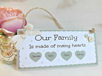Personalised Family Plaque Sign Handmade Home New Home Gift Shabby chic