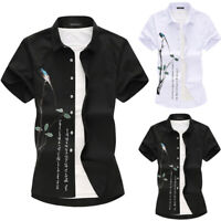 Mens Short Sleeve Solid Casual Shirts Party Formal Workwear Dress Shirt Tops Tee