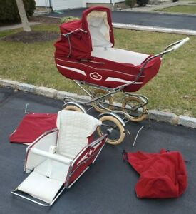 Vintage Italian  Perego Stroller Carriage Maroon Bassinet W/ Toddler Attachment