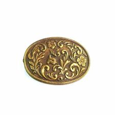 Ladies Bronze/Gold  Floral Belt Buckle Made in USA