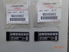 MITSUBISHI DELICA D2 MB15S LABEL THEFT SECURITY ALARM SET OF 2PCS MQ500862 JDM!
