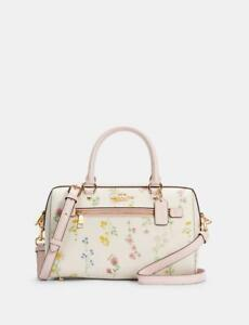 NWT Coach Rowan Satchel In Signature Canvas With Daisy / With Wildflower Print