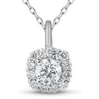 "5/8ct Cushion Halo Diamond Pendant 14k White Gold & 18"" Chain"