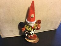 Vintage Christmas PINECONE CLOWN Chenille Pipe Cleaner Spun Cotton Ornament Putz