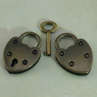 (Lot of 2) Small Vintage Style Mini Padlock With Keys-Antique Bronze Color