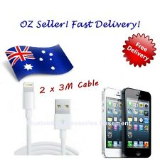 2 x 3M USB Charger & Data Sync Cable iPhone 7 6 5 , iPad 4/Pro/Air/Mini, iPod)