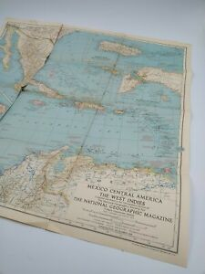 Vintage 1939 National Geographic Map of Mexico Central America West Indies