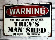 Man Shed Sign Large Personalised Man Cave Garage Workshop Bar Metal Sign