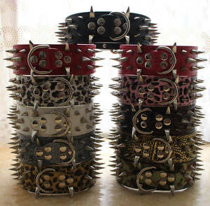 New Leather Spiked Studded Dog Collar for Large Breeds Pitbull Mastiff Terrier