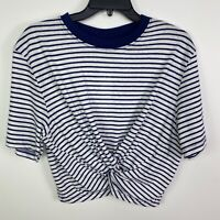 Topshop Women's Size 4 Crop Top Blue White Striped Twisted Front NEW