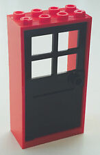 *NEW* 1 Set LEGO 2x4x6 RED Frame & BLACK Door with 4 PANES 60599