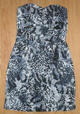MISS SELFRIDGE GORGEOUS BLUE ANIMAL PRINT STRETCH SHORT  MINI DRESS SZ 8