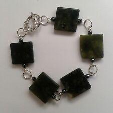 New Green Serpentine Gemstone & Grey Haematite Bead Tibetan Silver Bracelet