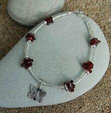 Garnet and Butterfly Bracelet- Beautiful