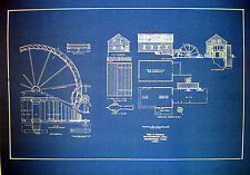 Water Wheel Mill Stockbridge Mass. 1823 Blueprint Plan  16x22  (253)