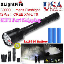 XLightFire 30000 Lumens 12x CREE XML T6 5 Mode LED Flashlight 3X 18650 Battery