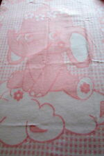 "Children's Blanket Baby Blanket "" Elephant Rose "" Blanket Pink 100% Cotton"