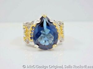 Michael Valitutti London Blue Topaz Pear & Sapphire Ring Palladium and Gold