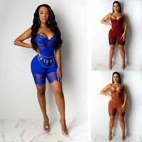 Jumpsuit Clubwear Steel Sexy Spaghetti Women Ring Patchwork Lace Strap Backless