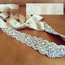 "Wedding Sash Belt, Bridal Sash - Crystal Sash Belt = 19"" long in OFF WHITE sash"
