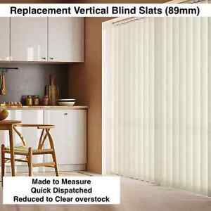 """VERTICAL BLIND Slats Replacements - CREAM - Made to measure 89mm (3.5"""")"""